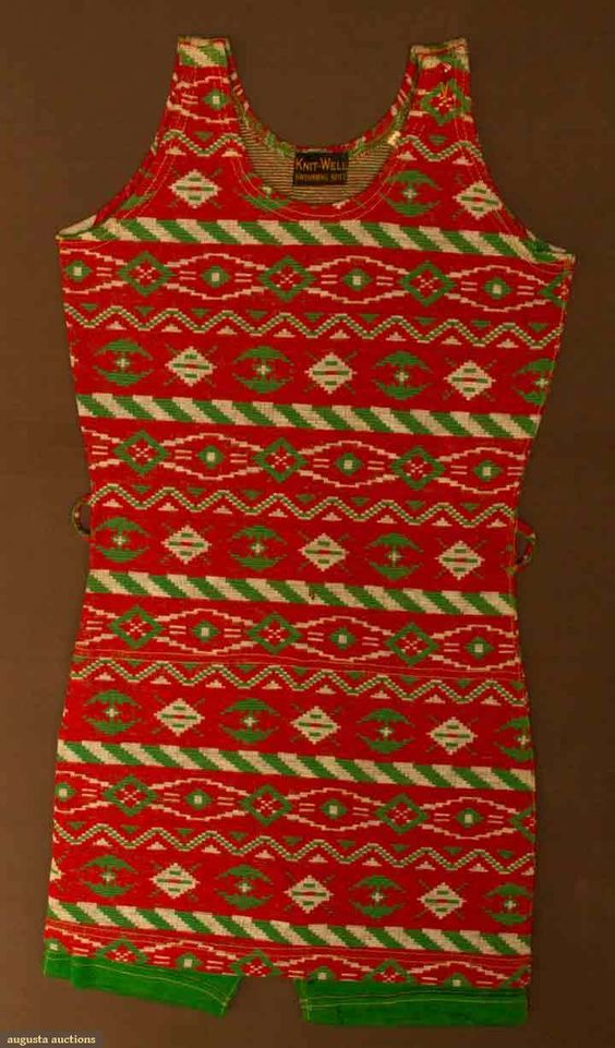 Ladies Patterned Bathing Suit, 1925-1930, Red, green, & white wool k...