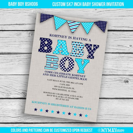Modern boys baby shower invitation in navy and turquoise- printable digital file.Free customization