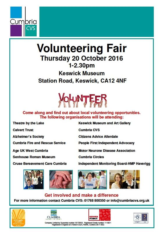 Volunteering Fair http://www.cumbriacrack.com/wp-content/uploads/2016/10/Keswick-Volunteering-Fair-social-media.jpg A call has gone out in Keswick and surrounding areas for volunteers to step forward and join in efforts to help Make A Difference.    http://www.cumbriacrack.com/2016/10/11/volunteering-fair-2/
