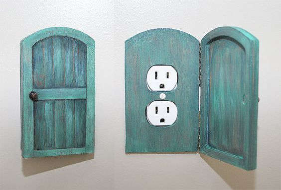 Cubre enchufes. Puerta de madera / Wooden Rustic Decorative Switchplate Cover