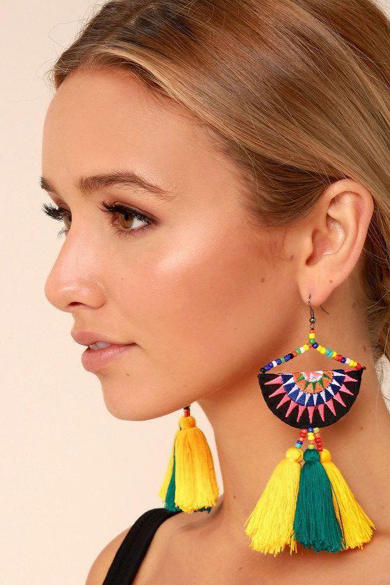 Beaded stud earrings Black-and-White  Trendy stud errings  Embroidered stud earrings Unique studs  Big stud earrings  OOAK studs