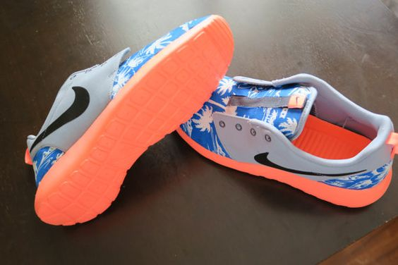 Custom Island Vibes Nike Roshe run Mango & Blue by LeedasWorld