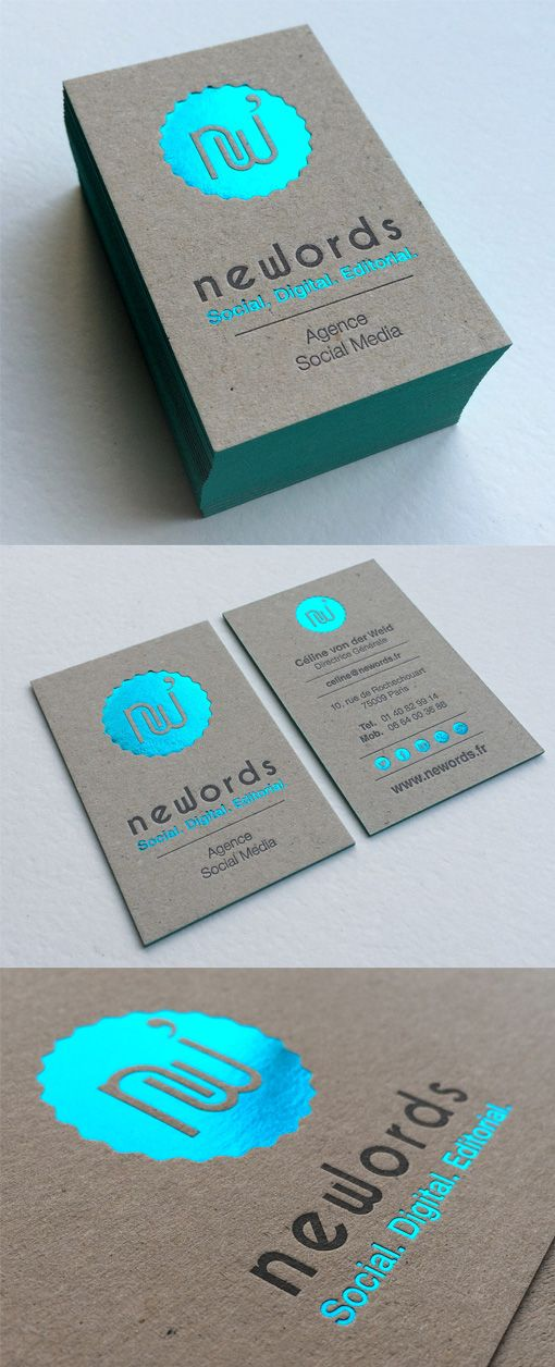 Tropical Themed Holographic Foil Business Cards For A Bar | Business ...