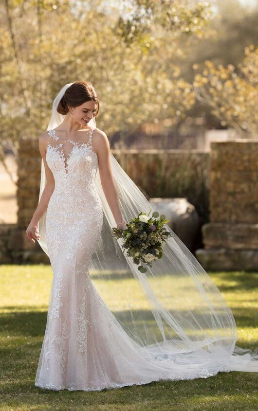Layered Lace Wedding Dress With Asymmetrical Neckline Essense Of