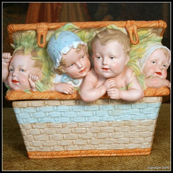 Large HTF Heubach Piano Babies in Wicker Basket