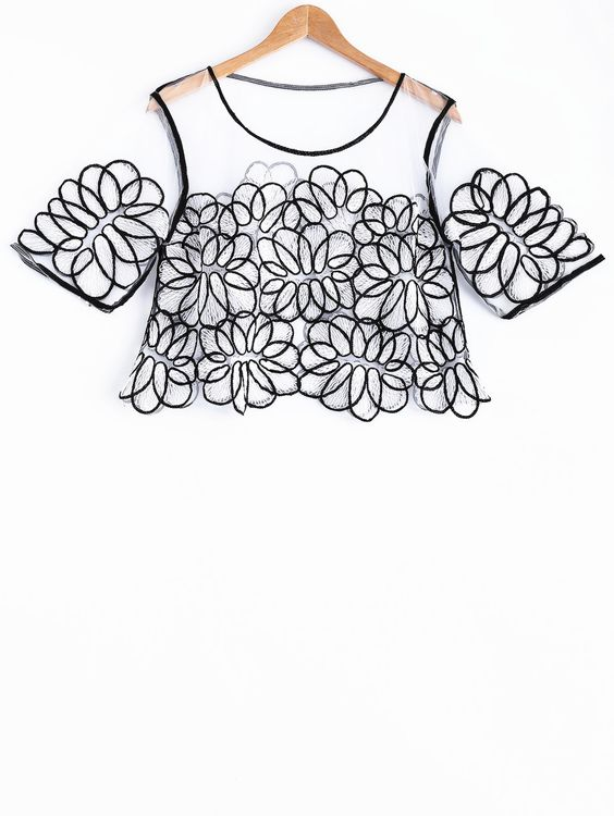 Embroidery Round Neck Half Sleeve Lace T-Shirt