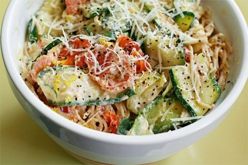 Pasta with zucchini, tomatoes, and creamy lemon yogurt sauce - made this tonight - it is SO good!