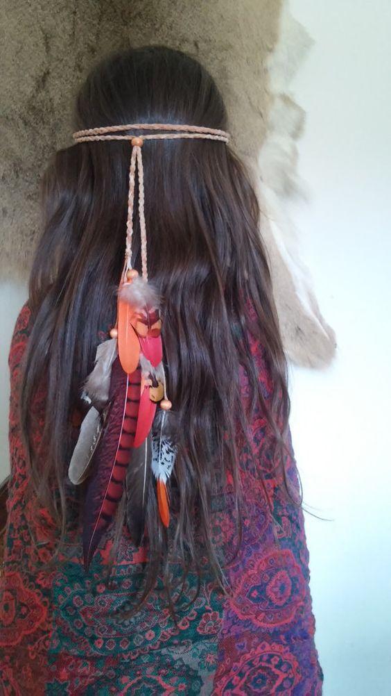 Red feather headband, feather headband, boho headband ...