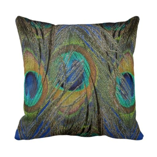 Peacock Feather Detail on Designer Cushions Throw Pillow