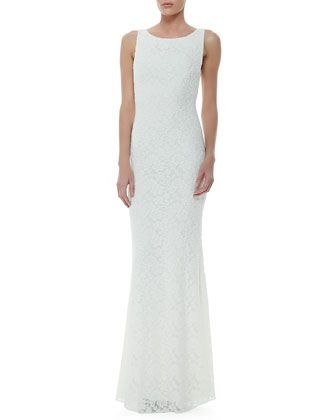 sachi open back lace gown by alice olivia at neiman marcus lace boat neck wedding dress. Black Bedroom Furniture Sets. Home Design Ideas