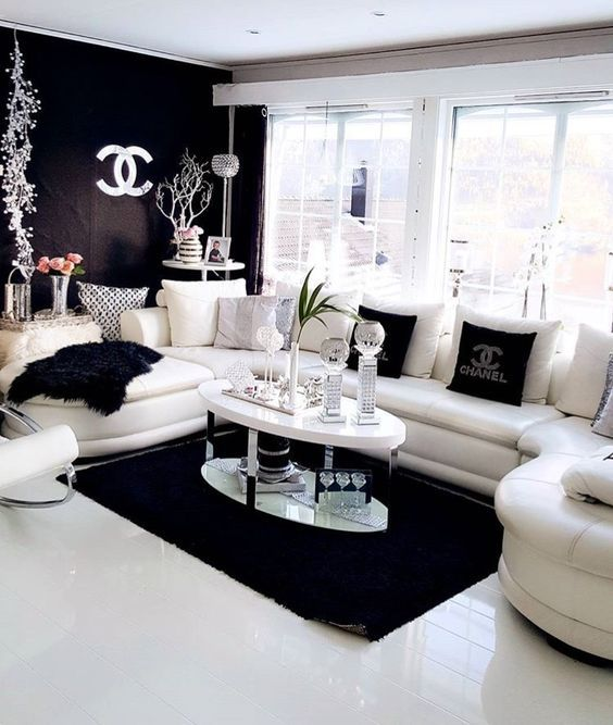 Décoration noir et blanc pour salon | black and white design ...