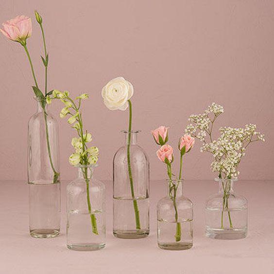 Vasenset Flaschenvasen für Sommerblumen Tischdeko 6...
