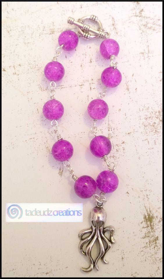 Purple Beaded Octopus Bracelet by TadeudzCreations on Etsy