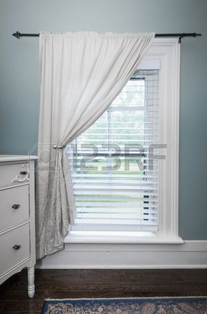 7 1 Window With Venetian Blinds And White Curtain In Country Style Room Blindsaesthetic Fabric Blinds Living Room Blinds Curtains With Blinds