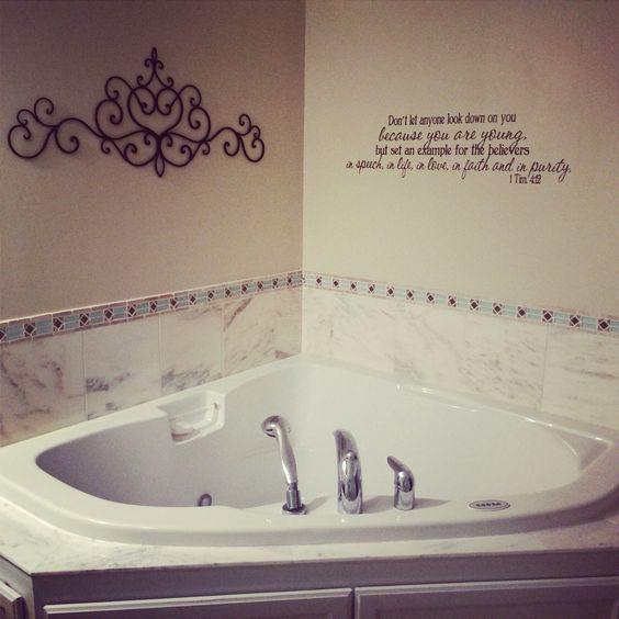 The perfect bathroom,  love the font and the scripture on the wall #oneday