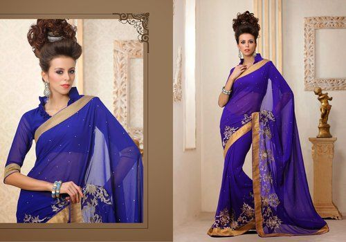 Aesthetic Royal Blue Embroidered Saree #wedding #Saree #AsianClothes #ethnic #wear #Indian #Fashion #Latest #Outfits #women #designer  #gorgeous #beautiful #shaadi #bride #stylish #bollywood #beauty #net #georgette #embroidery