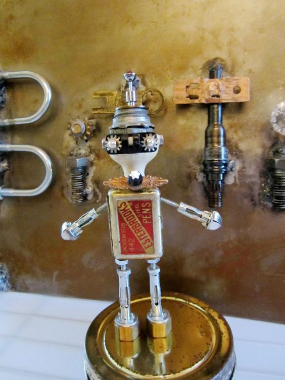 Monte Blanc bot  found object robot sculpture assemblage by ckudja, $50.00