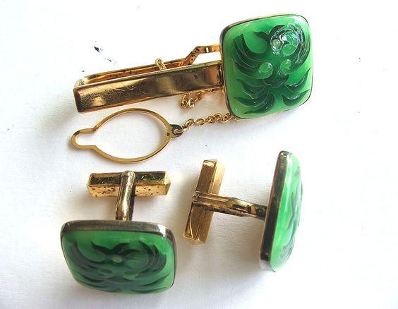 Vintage MIKIMOTO Men's Cufflinks and Tie Clip Jewelry Set w/ Orig. Box