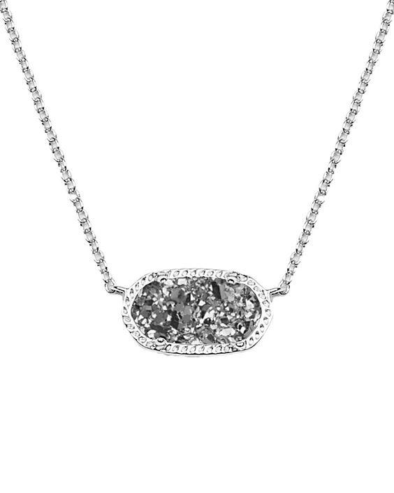 Elisa Silver Pendant Necklace in Platinum Drusy - Kendra Scott Jewelry