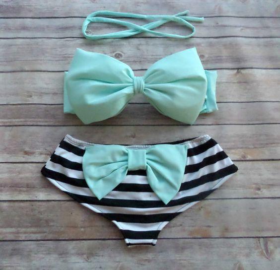❤ Bikiniboo Handmade Bow Bikini ❤    ❤ In Stunning Minty Blue, White & Black ❤    This bikini is everything that swimwear should be... cute, fun &