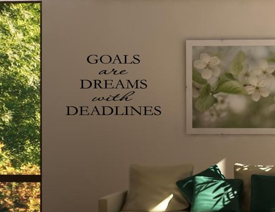 Amazon.com - GOALS ARE DREAMS WITH DEADLINES Vinyl wall quotes inspirational sayings home ... - Home Decor Products