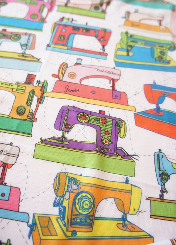 Printed vintage sewing machines