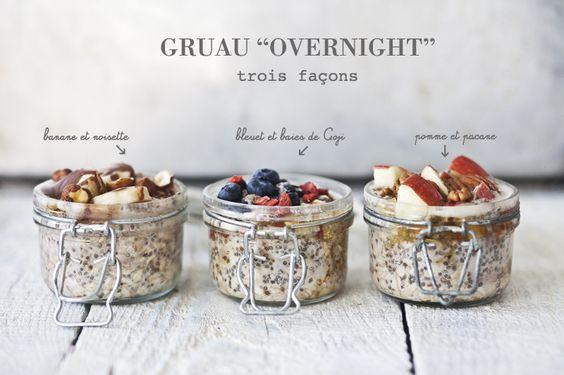 Petit déjeuner // Gruau overnight : 3 façons