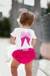 Ruffle butt, love the angel wings.