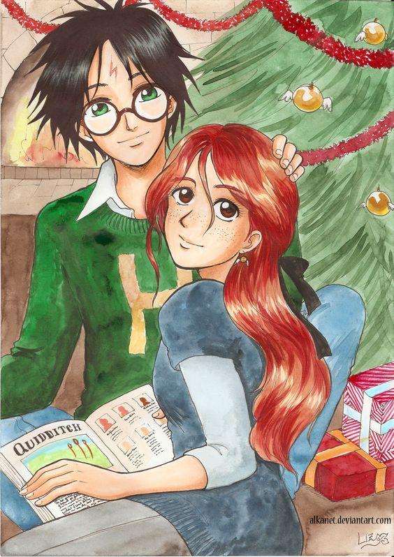 Christmas Harry and Ginny by Alkanet.deviantart.com on @DeviantArt