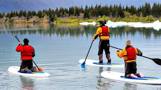 Paddleboarding in Bear Glacier Lagoon near Seward, Alaska