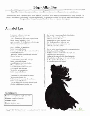 Worksheets Poetry Worksheets High School edgar allen poe early finishers and activities on pinterest middle school high literary analysis poetry worksheets allan annabel lee