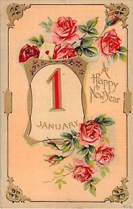 Pretty Pink Roses on 1911 New Year Postcard