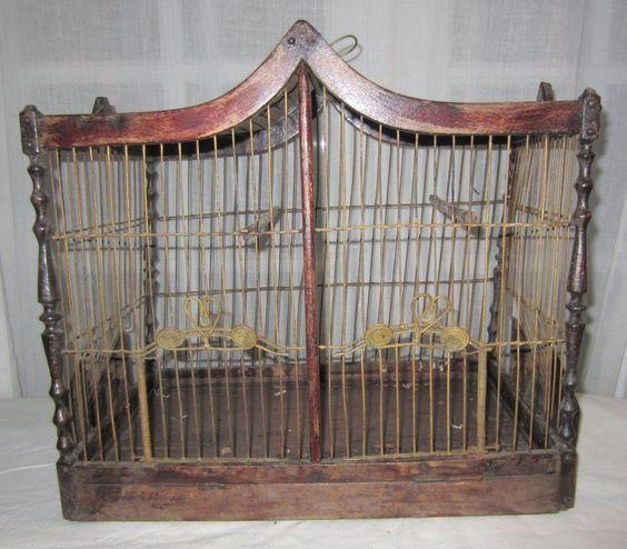 bois antique cages oiseaux and m taux on pinterest. Black Bedroom Furniture Sets. Home Design Ideas