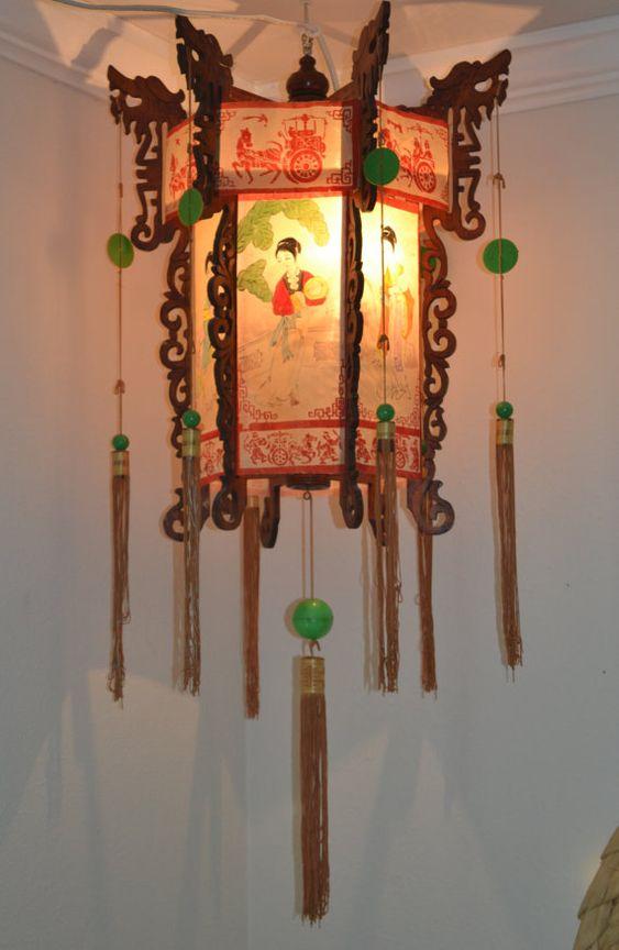 Vintage Chinese Lantern // Bohemian Decor // Asian // Lighting // Gypsy Lighting // Loft // Unique //