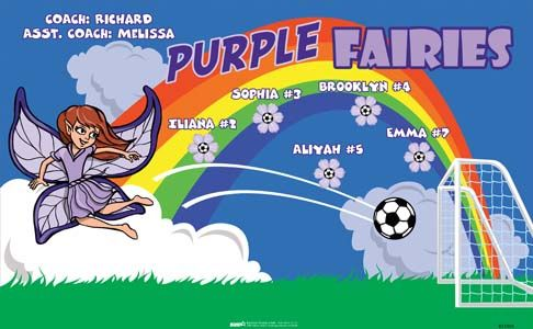 Purple Fairies B51905  digitally printed vinyl soccer sports team banner. Made in the USA and shipped fast by BannersUSA.  You can easily create a similar banner using our Live Designer where you can manipulate ALL of the elements of ANY template.  You can change colors, add/change/remove text and graphics and resize the elements of your design, making it completely your own creation.