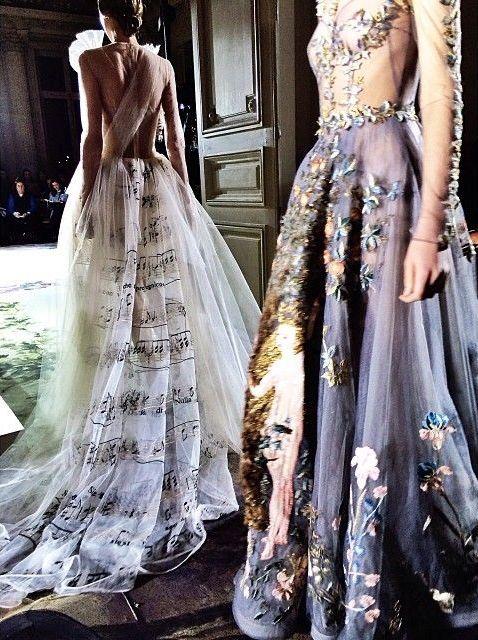 Valentino Haute Couture S/S 2014# Abschlussball mit mintfarbenen Schuppen /Aquarellstyle