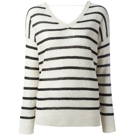Brunello Cucinelli striped V-neck jumper ($1,120) ❤ liked on Polyvore featuring tops, sweaters, white v neck sweater, striped jumpers, brunello cucinelli sweaters, v neck sweater and jumpers sweaters