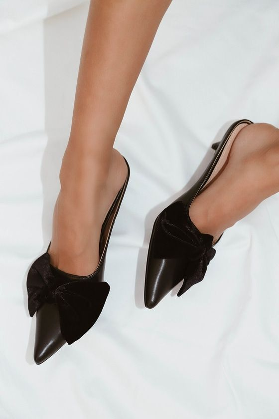 Ellisa Black Pointed Toe Mules