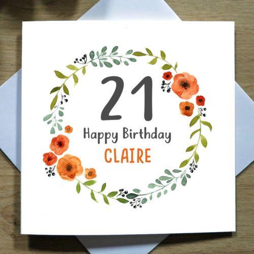 Personalised Handmade 21st Birthday Card Daughter Granddaughter Wreath Ebay 18th Birthday Cards Birthday Cards For Her 21st Birthday Cards