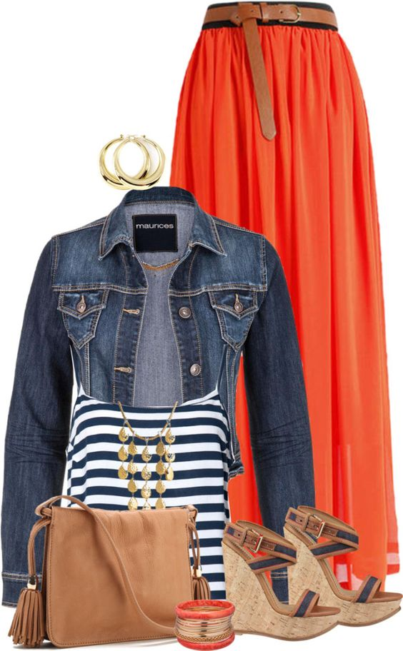 Orange Maxi Skirt Striped Top