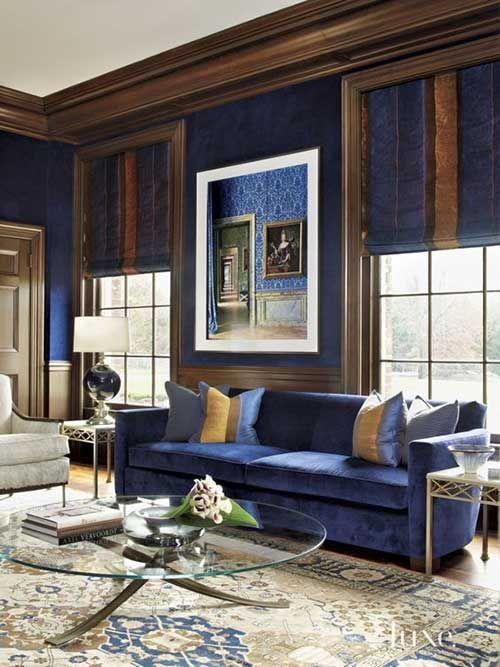 61 Salas Azuis Dicas Imperdiveis Pra Combinar Cores Blue Living Room Color Brown Living Room Blue Living Room Decor Living room ideas royal blue