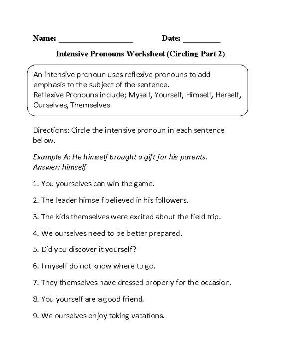 Intensive Pronouns Worksheet – Reflexive and Intensive Pronouns Worksheet