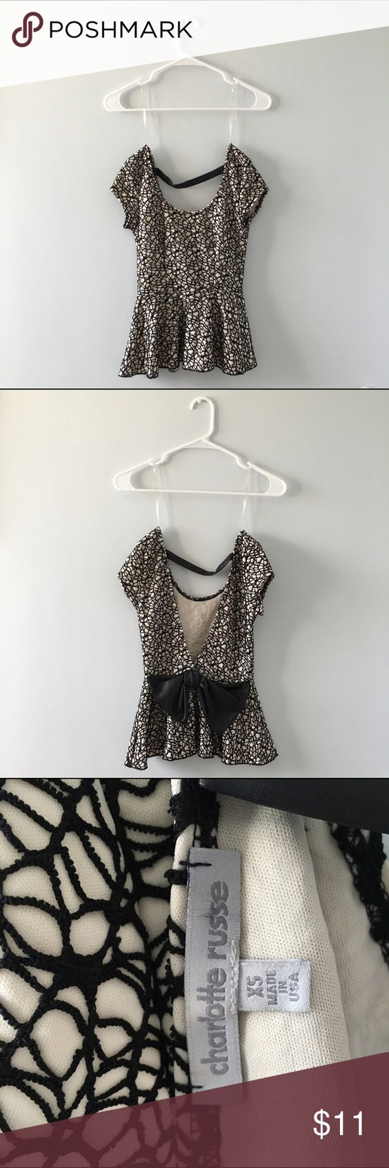 Charlotte Russe XS Black & White Formal Top w Bow Only worn once in brand new condition! This top is so gorgeous for any event. ⚡️Get it with fast shipping⚡️ Charlotte Russe Tops Tunics