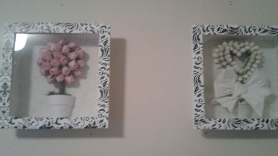 Cut strips from placemats to match bedroom decor brings life to plain shadow box frames