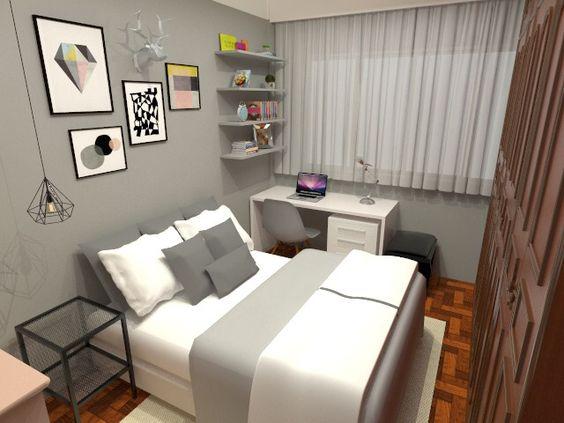 Quarto estilo escandinavo, aproveitando o máximo de mobília e revestimentos do cliente - Projeto e renderização por Anna-Beatriz Aflalo | Arquitetura e Design