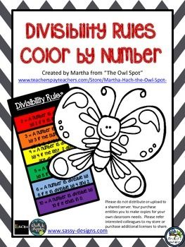 Color by number activity for practicing divisibility rules.  Also comes with a bookmark with the divisibility rules for students to use if needed. Check out my store for more great math and reading plans, games and activities.Your purchase entitles you to make copies for your own classroom use.