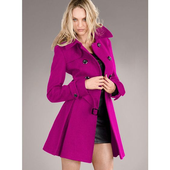 Victoria's Secret The Wool Trench Coat ($124) ❤ liked on Polyvore featuring outerwear, coats, rhumba, colorful coat, double breasted trench coat, victoria's secret, double-breasted coat and pleated coat