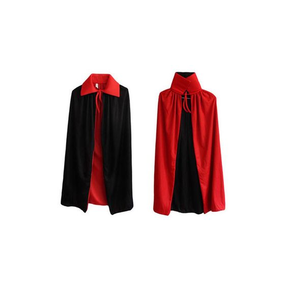 Halloween Party Cosplay Clothing Long Double-deck Black Red Cloak... ($9.33) ❤ liked on Polyvore featuring costumes, red, adult halloween costumes, adult devil costume, scary halloween costumes, devil halloween costume and role play costumes
