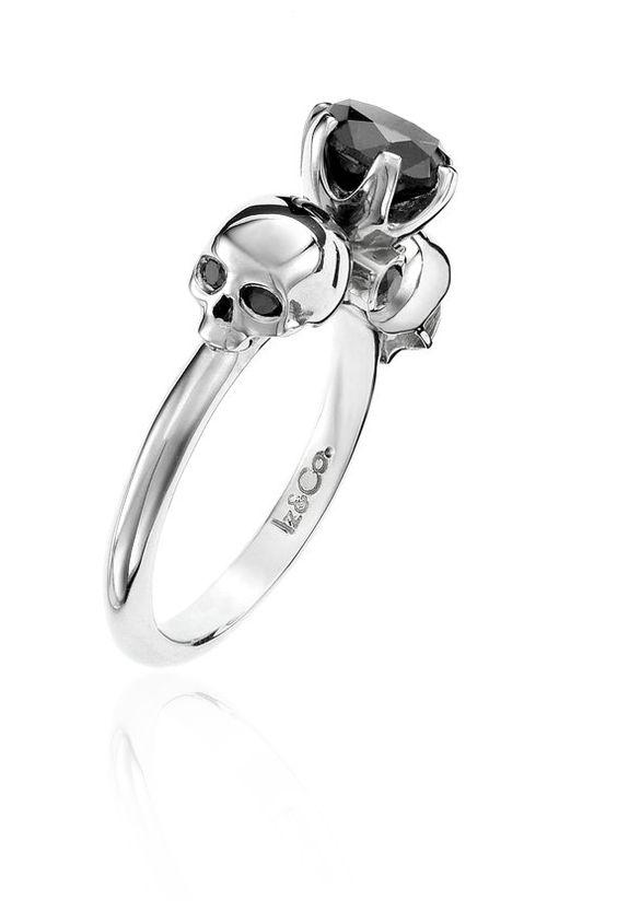 1ct Black Diamond & Silver Skull Ring