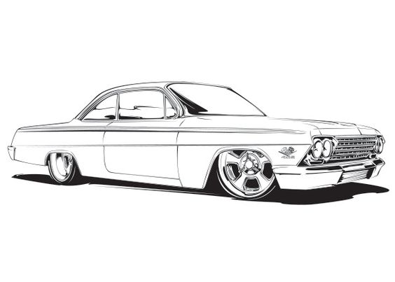 Coloration maison and couleurs on pinterest for Chevy nova coloring pages